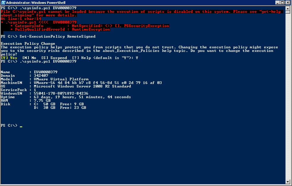 Powershell - after execution enabled